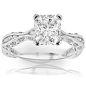 1.3 Carat Radiant Cut / Shape 14K White Gold Channel Set Eternity Curving Diamond Engagement Ring ( J Color , SI2 Clarity )