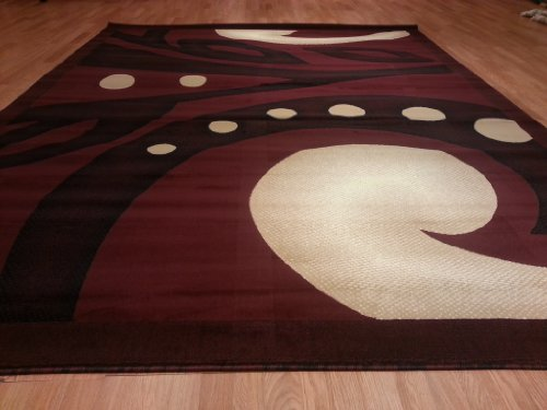 E524 Contemporary Modern Transitional Burgundy Red Black 5x8 Actual Size 5'3x7'2 Rug