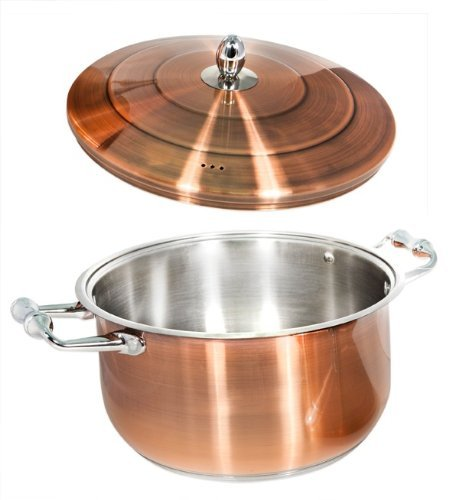 Tmvel 12 QT Cooking Pot With Lid - Bonded Copper - Plated Cookware - High Quality Cr-Ni Stainless Steel - Ergonomic, cool touch stainless steel handles and knobs