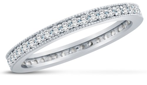 Size 5 - 3mm Small Thin Solid 14K White Gold Channel Set Round Brilliant Cut Highest Quality CZ Cubic Zirconia Eternity Anniversary or Wedding Ring Band (Available in sizes 5 , 6 , 7 & 8)