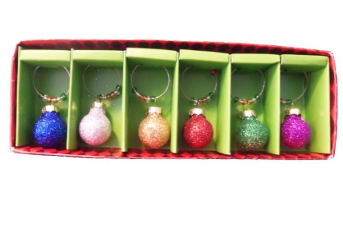Christmas Ornament Wine Glass Charms - Set of 6 wooden cork wine grapes bunch ornament burgundy c8558 a kurt adler