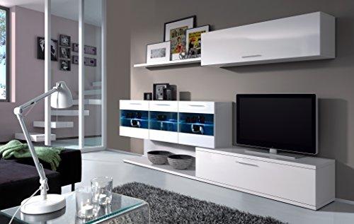 Parete attrezzata soggiorno base TV 2 pensili design arredamento casa 026676BO