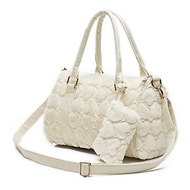 HSE Women's Heart Shape Pattern Faux Fur PU Leather Two Pieces Handbag White