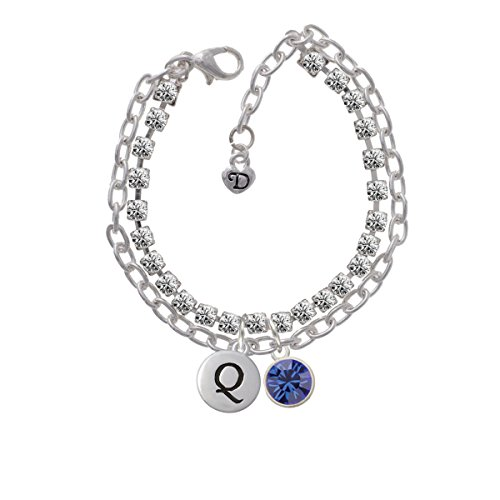 10Mm Blue Oktant Crystal Drop Double Strand Initial - Q - Madison Charm Bracelet