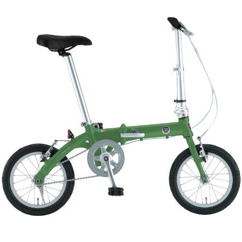 FIAT(フィアット)  軽量アルミ 14インチ コンパクト折りたたみ 小径自転車 【ステンレススポーク/スリックタイヤ標準装備】 グリーン FIAT AL-FDB140 12203-1199