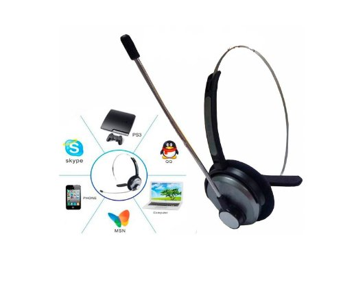 Wireless Mono Bluetooth Stereo Headset Headphone &Boom Microphone For Skype Chat