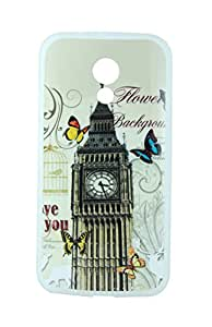 Exclusive Premium Rubberised Back Case Cover For Motorola Moto G2 G 2 (2nd Gen) 2014 - Clock Tower London With White