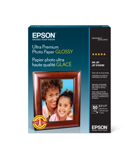 Epson Ultra Premium Photo Paper GLOSSY (8.5×11 Inches, 50 Sheets) (S042175)