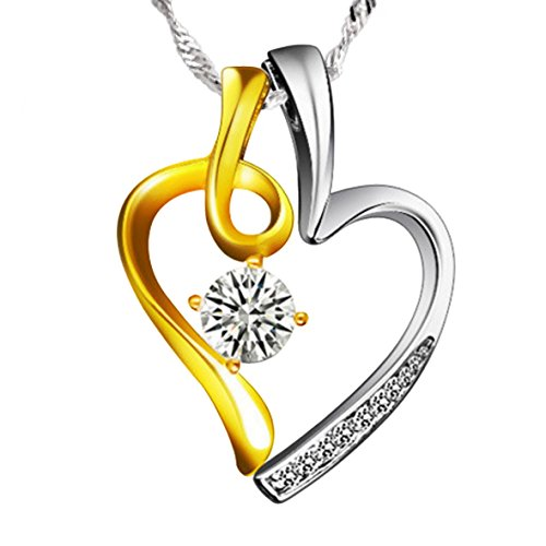 """You and Me"" Sterling Silver Heart-Shaped Pendant Necklace"