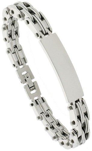 Gent's Stainless Steel ID Bracelet, 3/8 inch wide, 8 inch long