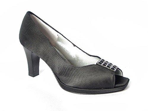 Scarpa donna Gaja-Soffice sogno, decolletè elegante in tessuto raso con tacco 7cm. e plateau 1cm.
