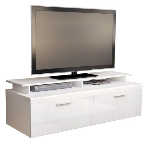 TV Stand Unit Atlanta in White / White High Gloss with TV Stand Black Friday & Cyber Monday 2014