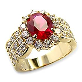 Women&#8217;s Rosette Ruby Color Cubic Zirconia Gold Tone Ring