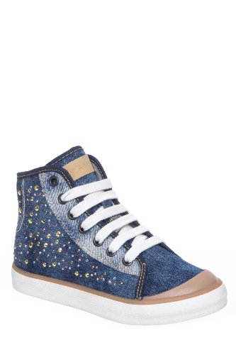 Kid's Jr Ciak Girl Denim Studded Sneaker