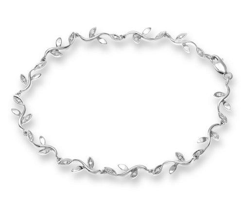 Naava 9 ct White Gold Women's 0.1 ct Diamond Bracelet
