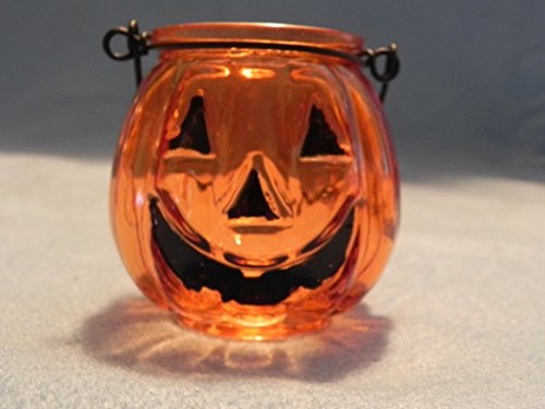 Set of 6 Glass Jack O' Lantern Tealight Holders
