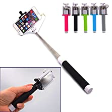 buy Geekercity® Pocket-Sized Mini Wired Selfie Sticks Telescopic Handheld Self-Portrait Extendable Monopod Built-In Remote Shutter With Adjustable Foldable Cellphone Clip Mount Holder With Rear View Mirror, Battery Free No Battery No Bluetooth Earphone Headph