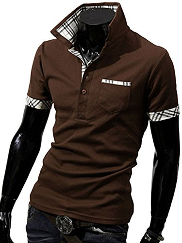 WmcyWell Men's Fashionable Checkered Lapel Short Sleeve T-shirt Slim Fit Polo Shirt XL, Coffee