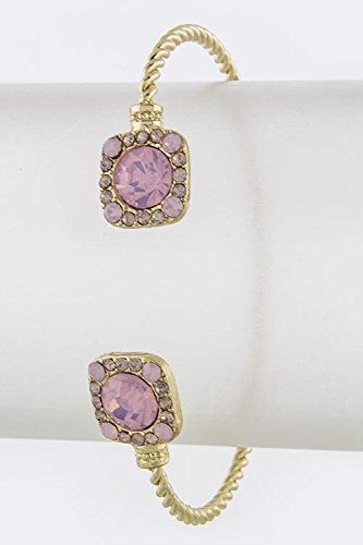 Trendy Fashion Jewelry Crystal Framed Acrylic Jewel Tip Cuff By Fashion Destination | (Gold/Pink)