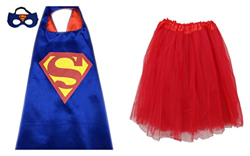 Superhero TUTU, CAPE, & MASK - Adult Teen Plus Womens Complete Halloween Costume (Regular Size Adult Tutu, Superman - Blue & Red)