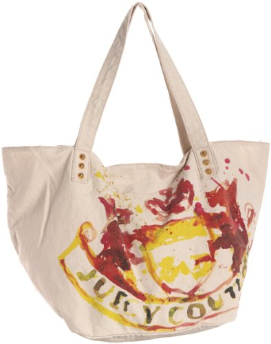 Juicy Couture Gen Y Watercolor Canvas Tote Pale Linen