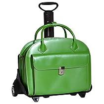 McKleinUSA GLEN ELLYN 94361 Green Leather Detachable-Wheeled Women's Case