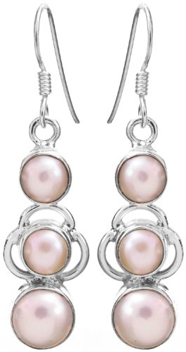 Sterling Earrings with Gems - Sterling Silver - Color Pearl