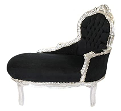 Casa Padrino Baroque kids chaise lounge Black / Silver Mod2 - Baroque Furniture