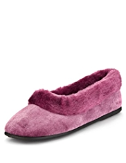 M&S Collection Faux Fur Trim Ballet Slippers