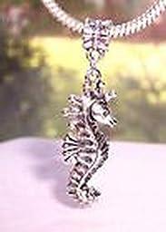 Pugs & Pandoras Large Seahorse Sea Life Beach Ocean Oversize Dangle Bead for Euro Charm Bracelet PP21234