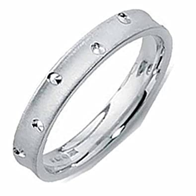 18ct White Gold Wedding Ring Patterned Width 3mm to 6mm
