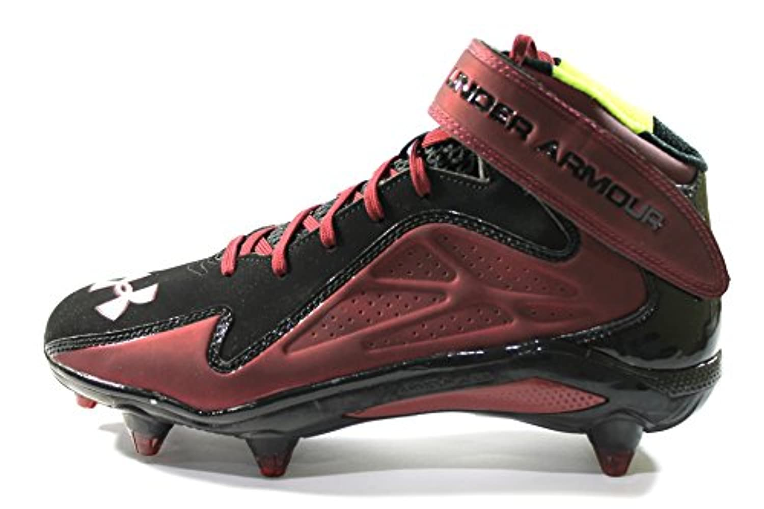 bd7d8851e ... Under Armour Men s Micro G Renegade Mid D Black Maroon Football Cleats  size 10 ...