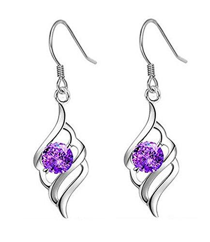 Celebrity Jewellery argento placcato Angel Wings Forma Orecchini Orecchini gancio viola cristallo austriaco