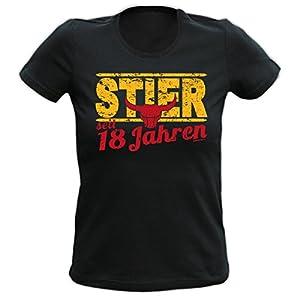 T-Shirt Schwarz Stier 18 Jahre