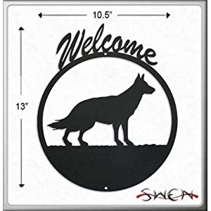 GERMAN SHEPHERD Black Metal Welcome Sign