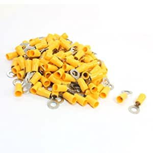 100Pcs RV5.5-6 Ring Tongue Pre Insulated Terminal Yellow for AWG 12-10