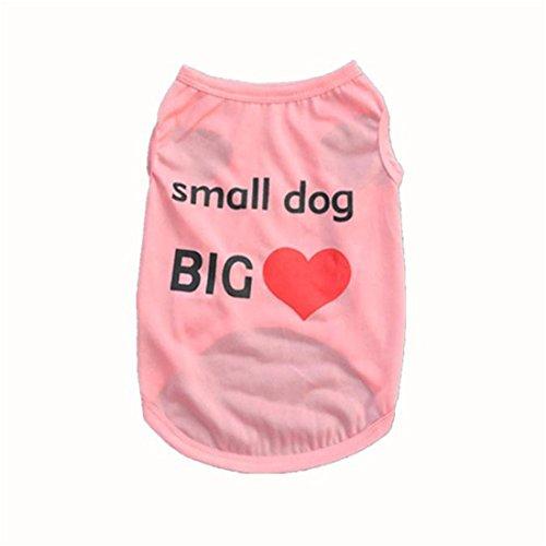 Pet Cane Abbigliamento,Xinantime Carino Cane Vest Cucciolo Maglietta (rosa, L)