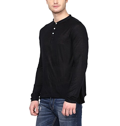 American-Crew-Mens-Henley-Full-Sleeve-Solid-T-Shirt-Black-Slub