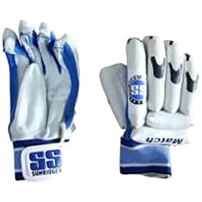 SS Match Batting Gloves (White/Black/Blue)
