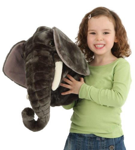 Giant Head Oversized Elephant Head wild Jungle Animals Themed Quality Plush Hand Puppet Stuffed Animal