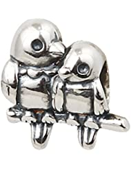 Choruslove Love Birds Charm 925 Sterling Silver Valentines Bead For European Bracelet