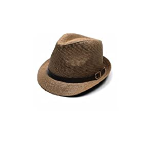 Women Men Casual Trendy Beach Sun Straw Panama Jazz Hat Cowboy Fedora Gangster Cap brown
