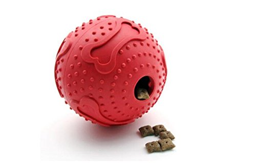 KYZ Pets Dog Rubber Interactive IQ Treat Ball Cat Toy Treat Ball Puppy Tricky Treat Ball Red M