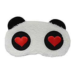 Plush Love Bear Design Sleep Eye Mask - White - Fancy Sleeping Eye masks for Travel