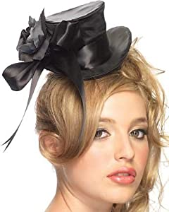 Leg Avenue Satin Top Hat With Flower And Bow Accent by Leg Avenue