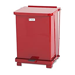 Rubbermaid Commercial FGST7EPLRD The Defenders Steel Step Trash Can with Plastic Liner, 7-Gallon, Red