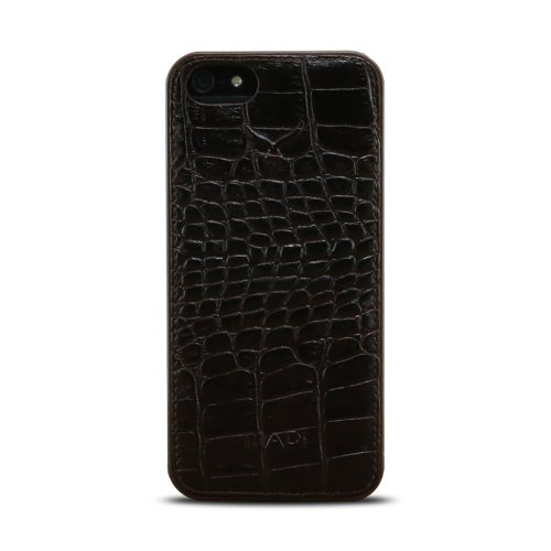 "MAPi (P115C0823) Pella ""Shell"" Snap-on w/Leather Accents for iPhone 5/5s, Croco Brown"