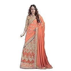 Renisha fashion Georgette Embroidered Work Lehenga Saree(Orange)