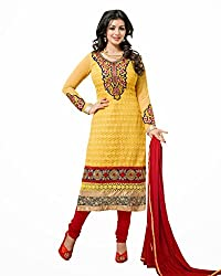 Fabvila Yellow Chanderi A-line Unstitched Dress Material