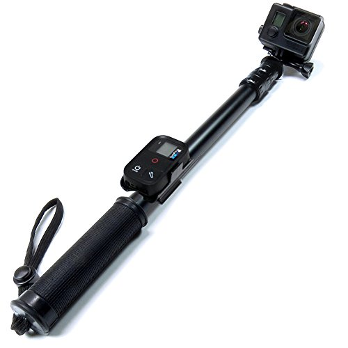 """SANDMARC discount duty free SANDMARC® Pole - Black Edition: 17-40"""" Waterproof Telescoping Extension Pole (Selfie Stick) with Remote Clip (Mount) for GoPro Hero Session, 4, 3+, 3, 2, and HD Cameras - Lifetime Warranty"""